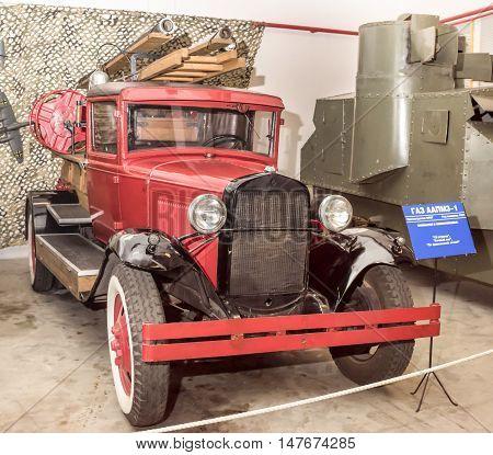 Moscow, Russia -September 4, 2016: Fire Trucks GAZ AA PMZ-1 (1934) in