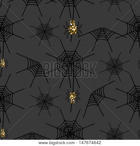 Halloween spider net vector pattern. Black and white spooky background with glitter spider.