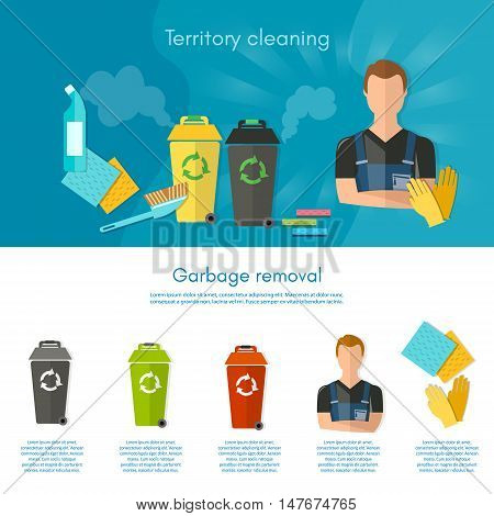 Garbage sorting infographics trash cans separation of waste on garbage bins flat vector