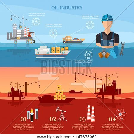 Oil and gas industry infographics industry oil exploration extraction transportation products