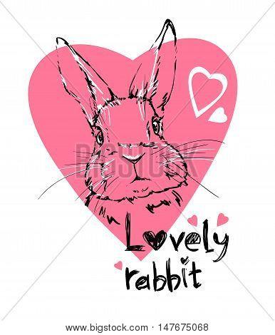illustration of a cute bunny, vector rabbit. Illustration card valentines day. heart.  print design
