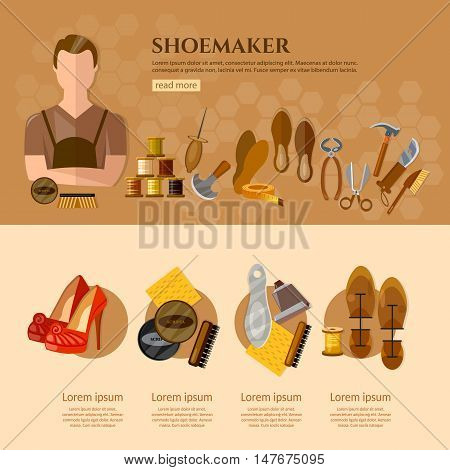 Shoemaker infographics professional equipment cobbler shoe care shoe repair flat vector illustration