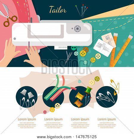 Seamstress work on sewing machine infographic elements top view professional tailoring manufacture of wearing apparel vector catoon illustration