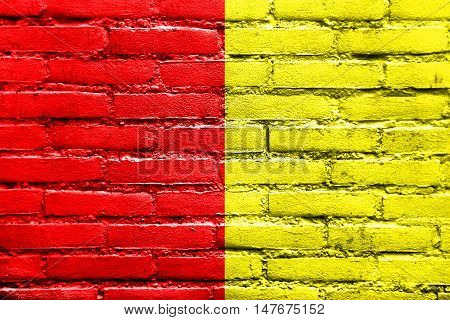 Flag Of Grenoble, France, Painted On Brick Wall
