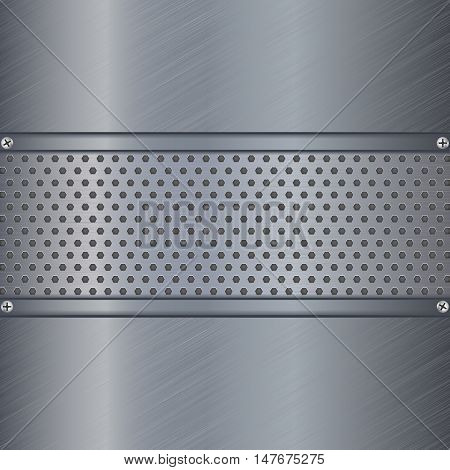 Metal background with perforation plate. Scratched. Vector illustration