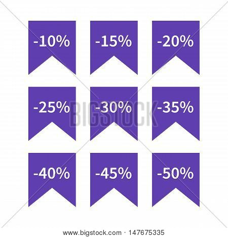 A set of nine blue labels discounts of ten to fifty percent in steps of five isolated on white background flat style vector illustration.