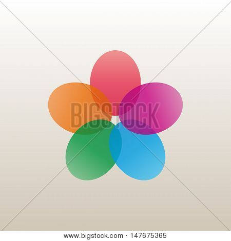 Logo design template a flower bud with bright petals business icon flat style vector illustration.