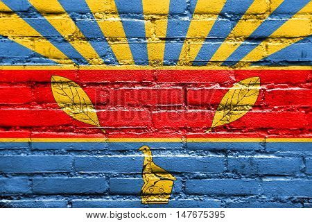 Flag Of Harare, Zimbabwe, Painted On Brick Wall