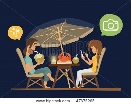 Couple man and woman sitting in a street tropical cafe at the evening. Romantic dinner illustration.