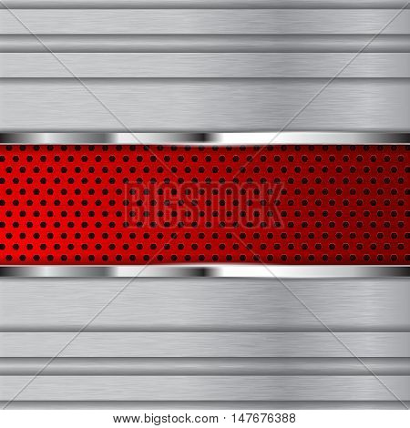 Metal background with stripes and red perforated plate. Vector illustration