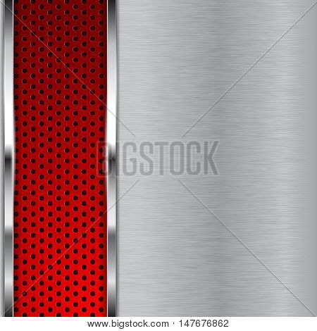 Metal brushed background with red perforated stripe. Vector illustration