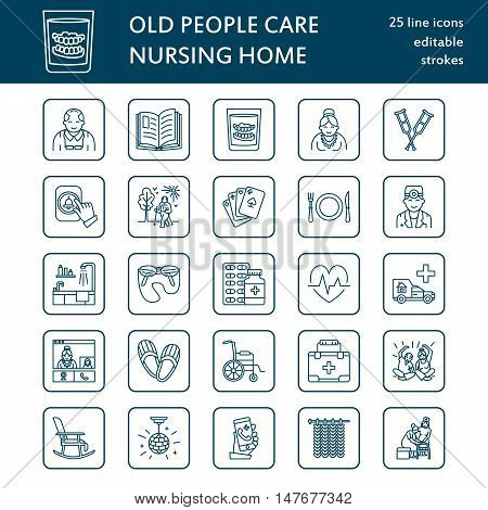 Modern vector line icon of senior and elderly care. Nursing home elements - old people wheelchair activities dentures medicines. Linear pictogram with editable stroke for sites brochures