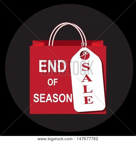 Shopping paper bag with end of season and sale tag icon