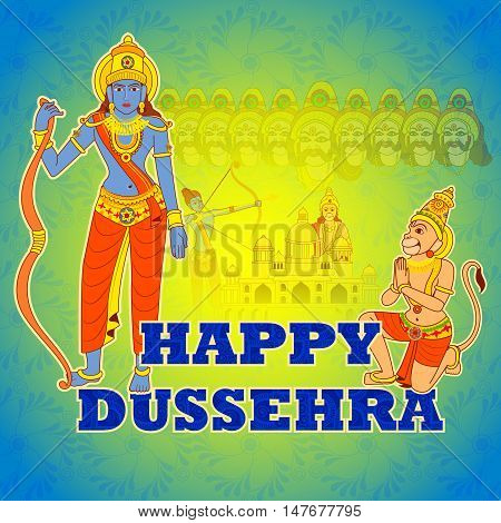 Vector design of Rama killing Ravana in Happy Dussehra