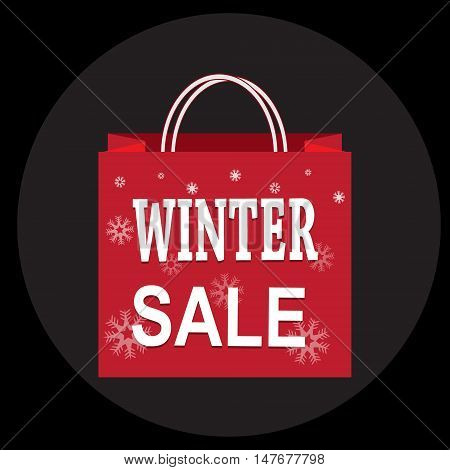 Shopping paper bag with winter sale tag icon