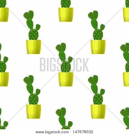 Opuntia cactus in pot - floral seamless pattern. Prickly pear - cute succulent plant on white. Green garden background. Summer nature illustration with mexican houseplant in cartoon style