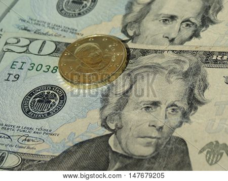 Dollar Notes And Vatican Coin