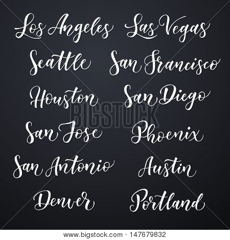 American city hand drawn vector lettering. Brush typography USA - Los Angeles Las Vegas Seattle San Francisco Houston San Diego San Jose Phoenix San Antonio Austin Denver Portland on dark background