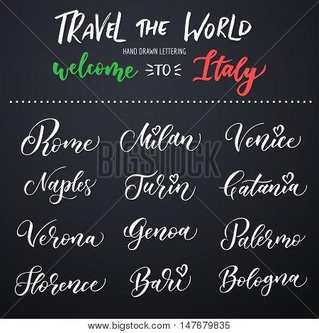 Italian city hand drawn vector lettering. Modern ink calligraphy. Brush typography of Rome Naples Bari Florence Genoa Bologna Milan Venice Palermo Turin Catania Verona on dark background.