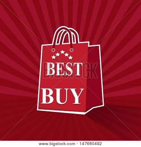 Shopping paper bag with best buy sale tag icon on sunburst pattern red background