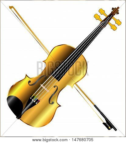 A golden violin and bow isolated over a white background