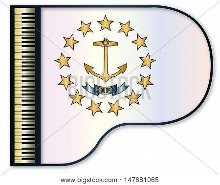 The Rhode Island state flag set into a traditional black grand piano