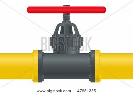 Gas pipe with red valve. Vector illustration on white background