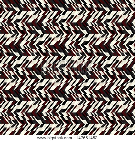 Vector geometric seamless chevron pattern with zigzag line and crossing stripes in vintage brown color. Striped bold print in hipster style for winter fall fashion. Abstract monochrome tech background