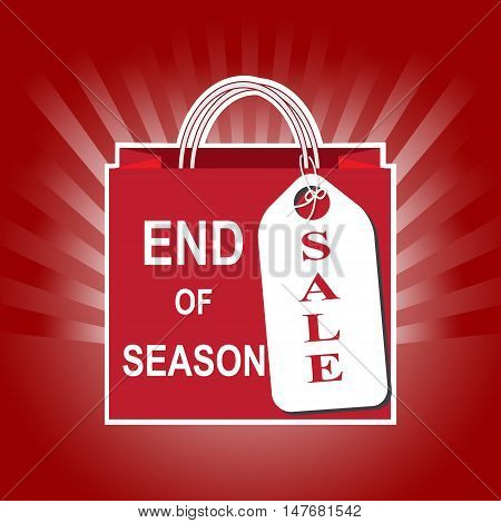 Shopping paper bag with end of season and sale tag icon on sunburst background