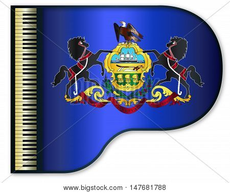 The Pennsylvania state flag set into a traditional black grand piano