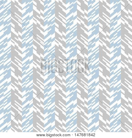 Vector geometric seamless chevron pattern with zigzag line and overlapping stripes in grey colors. Striped bold print in hipster style for winter fall fashion. Abstract monochrome tech background