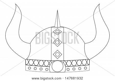 Viking helmet with horns. Vector illustration on white background