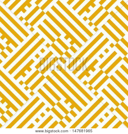 Abstract geometric pattern with diagonal overlapping stripes and crossing lines in bright yellow color. Op art seamless geometric background. Simple bold striped print for summer spring fashion