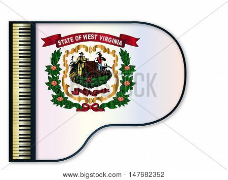 The West Virginia state flag set into a traditional black grand piano