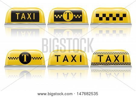 Taxi sign. Set of taxi car symbols and emblems. Vector illustration isolated on white background