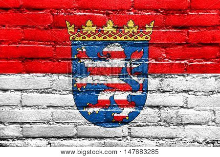 Flag Of Hesse With Coat Of Arms, Germany, Painted On Brick Wall
