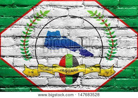Flag Of Jaguare, Espirito Santo State, Brazil, Painted On Brick Wall