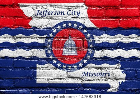 Flag Of Jefferson City, Missouri, Usa, Painted On Brick Wall