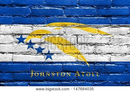 Flag Of Johnston Atoll, Usa, Painted On Brick Wall
