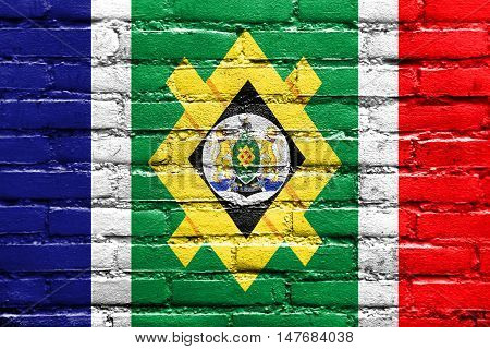 Flag Of Johannesburg, South Africa, Painted On Brick Wall