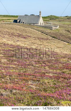 Chapel Saint-They at Pointe du Van a promontory in Brittany France