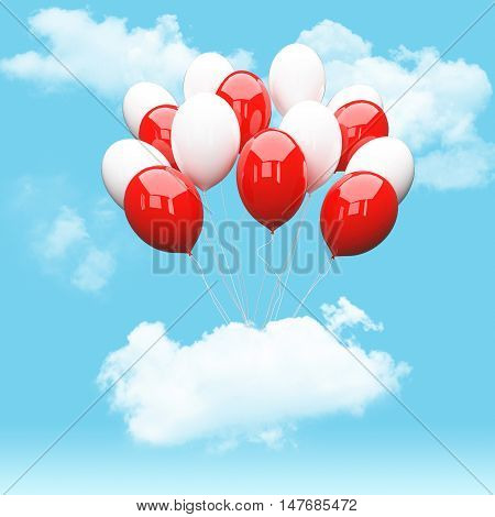 Escape conceptual-3d white and red balloonsholding cloud into the sky background