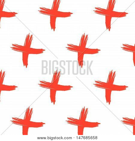 Vector cross sign pattern. Abstract background with red brush strokes. Hand drawn elements print with hipster X. Trendy modern textile texture with pluses or crosses symbols in red. Graphic design.