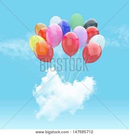 Escape conceptual-3d Bunch of balloons holding heart beat cloud into the sky background