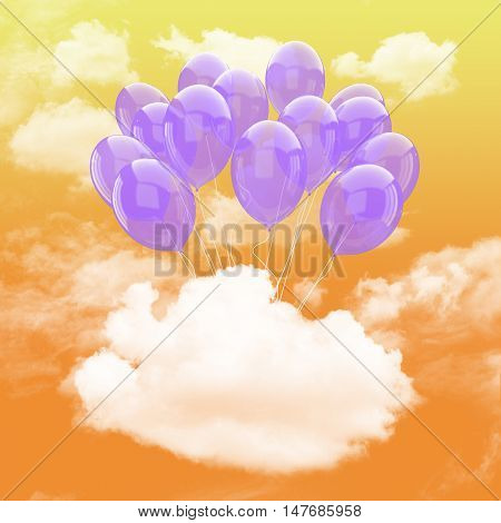 Escape conceptual-3d Bunch of purple balloons holding cloud into the sky background