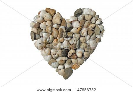 Heart of shells and pebbles, isolated on white