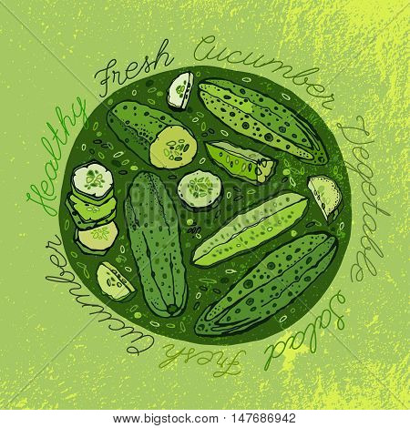 Beautiful handdrawn pattern in bright green colours. Vector with cucumbers and cucumber slices in unique artistic style on a textured background. Natural and organic food creative concept.