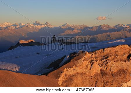 Summer evening in the Swiss Alps. Glacier des Diablerets just before sunse. High mountains of Wallis Canton. View from Sex Rouge.