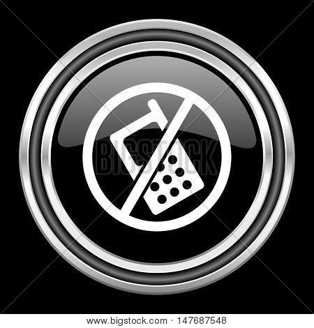no phone silver chrome metallic round web icon on black background