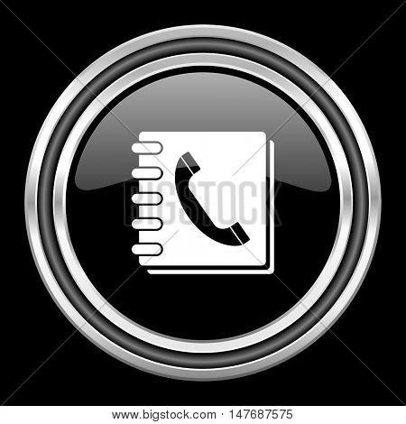 phonebook silver chrome metallic round web icon on black background